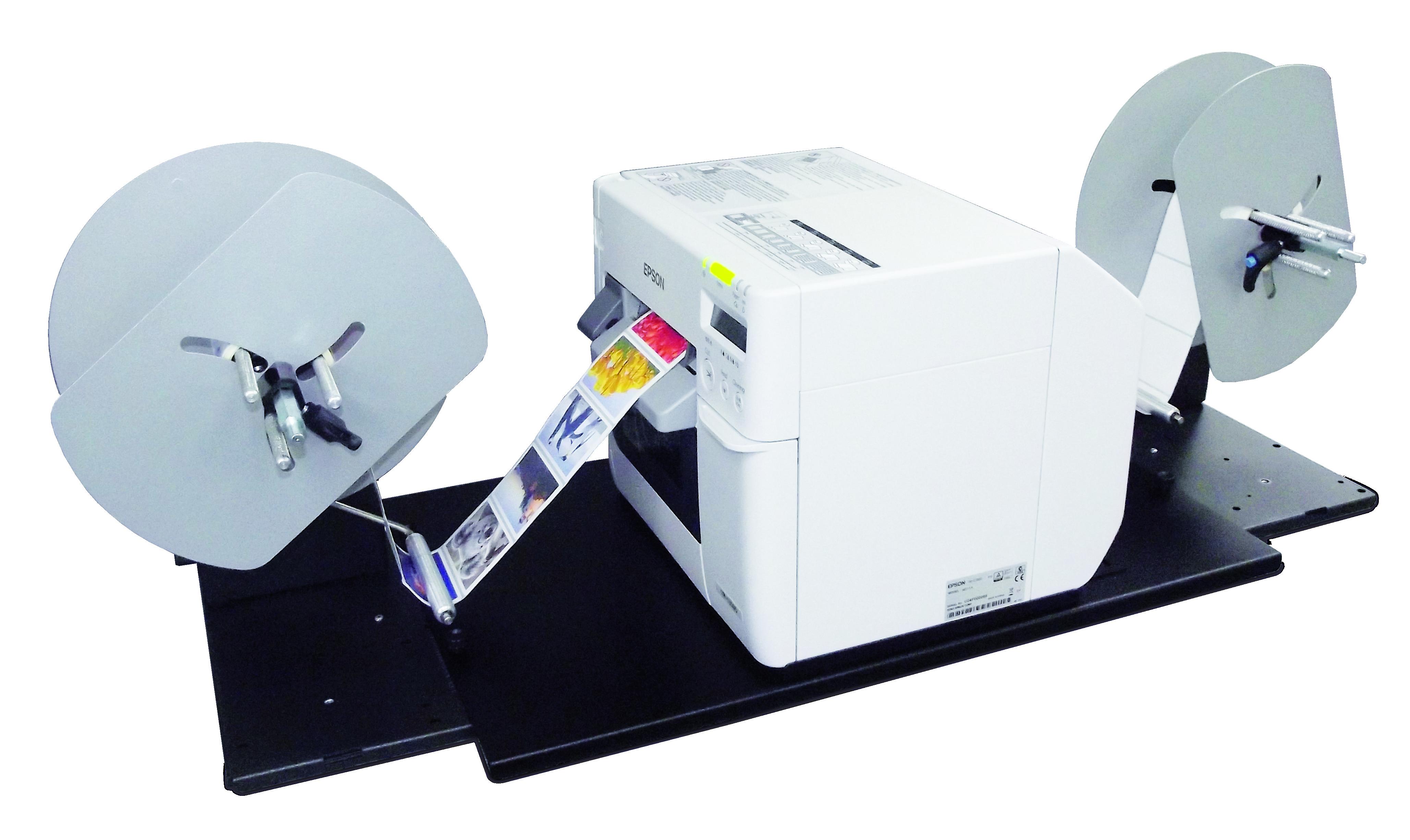 Epson TM-C3500 Unwinder & Rewinder connected to TM-C3500 label printer
